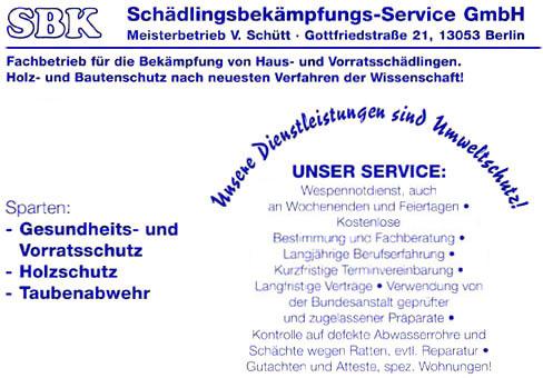 Bild 1 SBK Sch�dlingsbek�mpfungs-Service GmbH in Berlin
