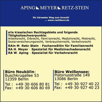 Bild 1 Aping - Meyer - Retz-Stein / Fach- und Rechtsanwaltskanzlei in Berlin